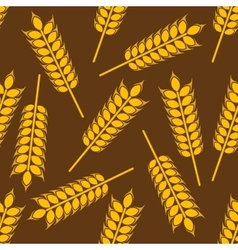 Yellow wheat ears seamless pattern vector