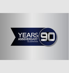 90 years anniversary logo style with circle vector