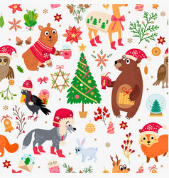 a christmas forest animals pattern winter vector image