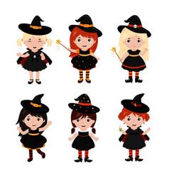 adorable little witch characters in different vector image