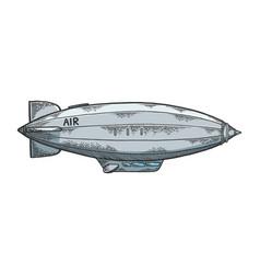 Airship dirigible sketch engraving vector