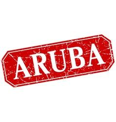 Aruba red square grunge retro style sign vector