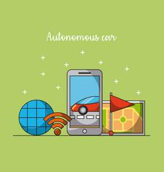 Autonomous car mobile phone app gps navigation vector