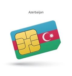 Azerbaijan mobile phone sim card with flag vector