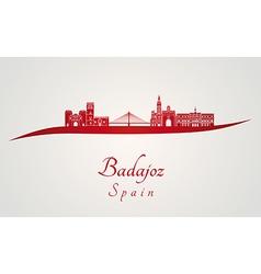 Badajoz skyline in red vector image