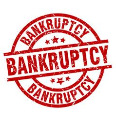 Bankruptcy round red grunge stamp vector