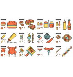 Barbecue line icon set vector