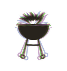 Barbecue with fire sign colorful icon vector