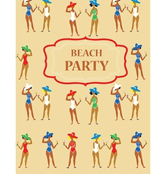 Beach party funny invitation - cartoon vintage vector