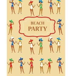 Beach party funny invitation - cartoon vintage vector image