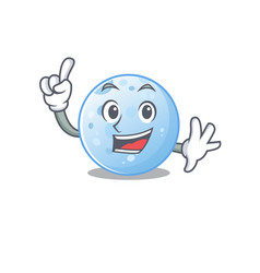Blue moon mascot design with one finger gesture vector