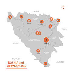 bosnia and herzegovina map with administrative vector image