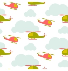 Cartoon helicopter in sky seamless pattern vector