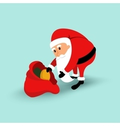Cartoon Santa Claus sitting on a chair and read a vector image