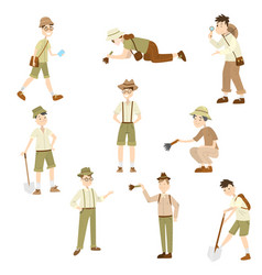 Cartoon set archaeologist characters at work vector