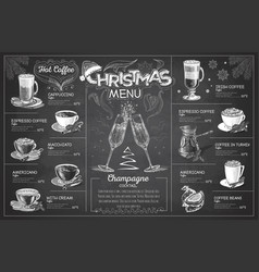chalk drawing christmas menu design with champagn vector image