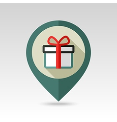 Christmas gift red ribbon and bow pin map icon vector