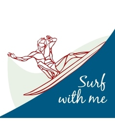 Creative silhouette of surfer vector image