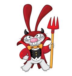 cute devil rabbit vector image
