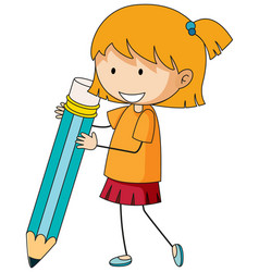 cute girl holding pencil doodle cartoon character vector image