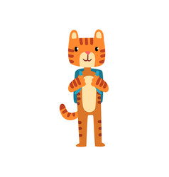 Cute tiger standing with backpack funny animal vector