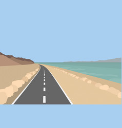 Dead sea landscape coastline with mountains vector