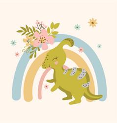 Dino flower hand drawn apparel print vector