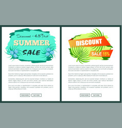 discount with 45 and 15 off only at summer poster vector image