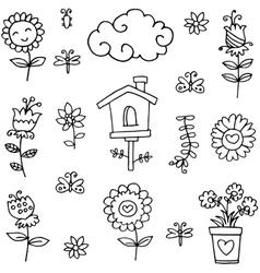 Doodle of spring leaf flower theme vector image
