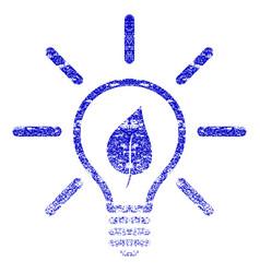 Eco light bulb grunge textured icon vector