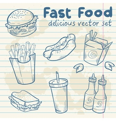 Fastfood delicious hand drawn set vector image