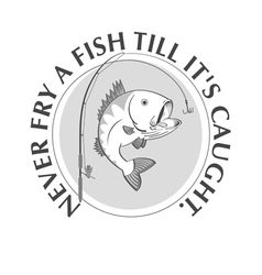 Fishing emblem with proverb vector image