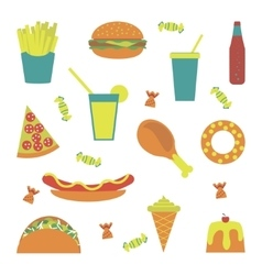 Flat fast food menu vector image