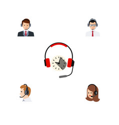 Flat icon hotline set of headphone service vector