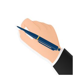 Flat signature hand with pen for paper design vector