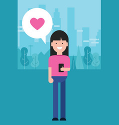 girl holding phone love shape heart in pink vector image