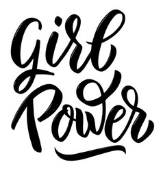 Girl power hand drawn lettering isolated on white vector