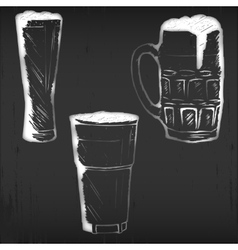 glasses and mugs on black chalkboard vector image