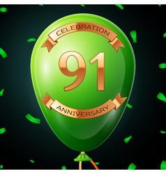 Green balloon with golden inscription ninety one vector