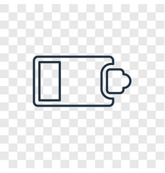 Half battery concept linear icon isolated on vector