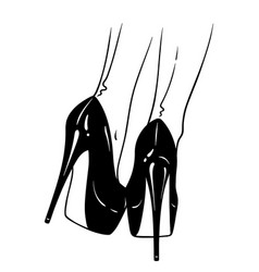 hand drawn female legs in high heels vector image