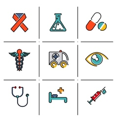 Health and medical icons set vector image