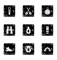 Hike icons set grunge style vector
