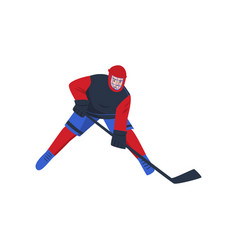 hockey player with a stick in his hands stands in vector image