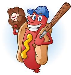 Hot dog baseball cartoon character vector