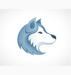 husky dog head logo - winter outdoor siberian vector image