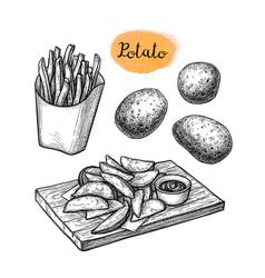 ink sketch fried potatoes vector image