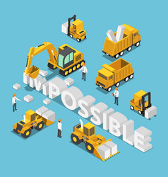 isometric construction site vehicle destroy and vector image