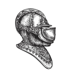 Knight helmet sketch vector image