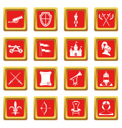 Knight medieval icons set red vector